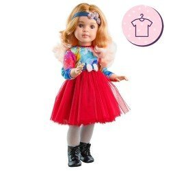 Outfit for Paola Reina doll 60 cm - Las Reinas - Marta red tulle dress