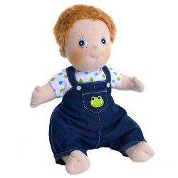 Rubens Barn doll 36 cm - Rubens Kids - Jonathan with bib overalls