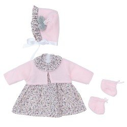Así doll Outfit 46 cm - Grey flowers dress with pink jacket with hat and booties for Leo