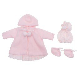 Así doll Outfit 46 cm - Pink knitted dress with duffle coat, hat and booties for Leo