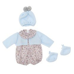 Así doll Outfit 46 cm - Grey flowers rompers with light blue jacket, hat and booties for Leo