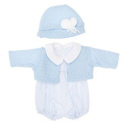 Así doll Outfit 46 cm - Mini rhombuses light blue rompers with light blue jacket with hat for Leo