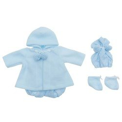 Así doll Outfit 46 cm - Blue knitted romper  with duffle coat, hat and booties for Leo