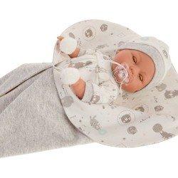 Antonio Juan doll 37 cm - Bimbo with gray baby sleeping bag