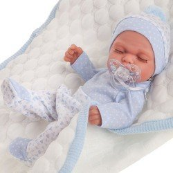 Antonio Juan doll 26 cm - Luni with quilted blue blanket