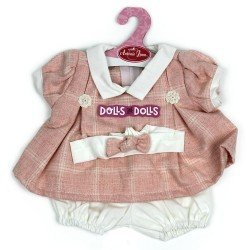 Antonio Juan doll Outfit 40-42 cm - Pink dress with squares and headband