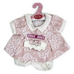 Antonio Juan doll Outfit 40-42 cm - Pink printed dress with headband