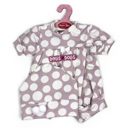 Antonio Juan doll Outfit 40-42 cm - Lilac romper with dots and hat