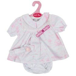 Antonio Juan doll Outfit 40-42 cm - White and pink printed dress with headband