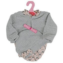 Antonio Juan doll Outfit 40-42 cm - Pink panda romper with gray hat and jacket