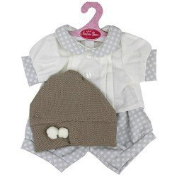 Antonio Juan doll Outfit 40-42 cm - Beige outfit with white squares and hat