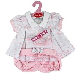 Antonio Juan doll Outfit 40-42 cm - Pink and white printed dress with headband
