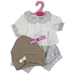 Antonio Juan doll Outfit 40-42 cm - Grey outfit with white dots and hat