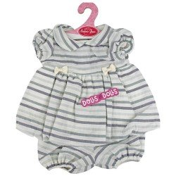 Antonio Juan doll Outfit 40-42 cm - Grey striped dress and matching briefs