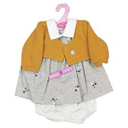 Antonio Juan doll Outfit 40-42 cm - Gray dress with hearts and mustard jacket