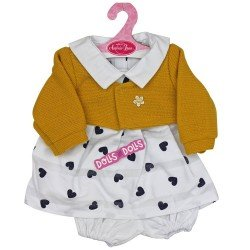 Antonio Juan doll Outfit 40-42 cm - White dress with hearts and mustard jacket
