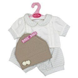 Antonio Juan doll Outfit 40-42 cm - White outfit with green and beige chevron print and hat