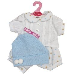 Antonio Juan doll Outfit 40-42 cm - White outfit with blue and beige dots and hat