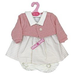 Antonio Juan doll Outfit 40-42 cm - Pink and grey chevron print dress with pink jacket