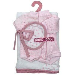 Antonio Juan doll Outfit 33-34 cm - Pink set with blanket, romper and bib