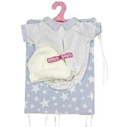 Antonio Juan doll 33-34 cm Outfit - Blue star blanket, white dotted body and hat set
