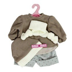 Antonio Juan doll Outfit 40-42 cm - Brown outfit with hat and scarf