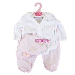 Antonio Juan doll Outfit 40-42 cm - White and pink pyjamas with hat