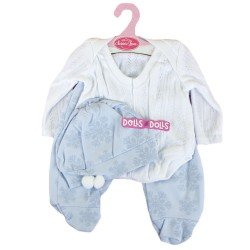 Antonio Juan doll Outfit 40-42 cm - White and blue pyjamas with hat