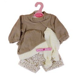 Antonio Juan doll Outfit 40-42 cm - Brown star printed outfit with hat and scarf