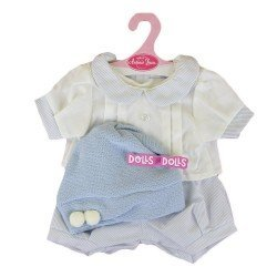 Antonio Juan doll Outfit 40-42 cm - Blue strips printed outfit with hat