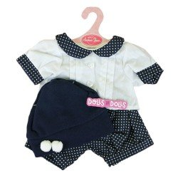 Antonio Juan doll Outfit 40-42 cm - White dots outift with hat