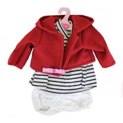 Antonio Juan doll Outfit 40-42 cm - Stripes printed outfit with red jacket