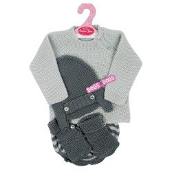 Antonio Juan doll Outfit 40 - 42 cm - Sweet Reborn Collection - Gray stitched outfit with booties and hat