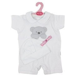 Antonio Juan doll Outfit 40 - 42 cm - Sweet Reborn Collection - White bear printed pyjamas with hat