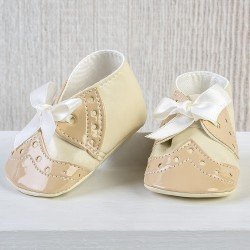 Así doll Complements 43 to 46 cm - Beige baby boots with bow for María, Pablo, Leo and Limited Series doll