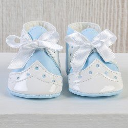Así doll Complements 43 to 46 cm - Light-blue baby boots with bow for María, Pablo, Leo and Limited Series doll