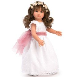 Así doll 40 cm - Nelly Communion white plumeti with wine tulle
