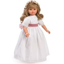 Así doll 57 cm - Pepa Communion plumeti with wine tulle sash