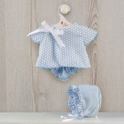 Así doll Outfit 43 cm - Pique light blue dress with white circles for Pablo doll
