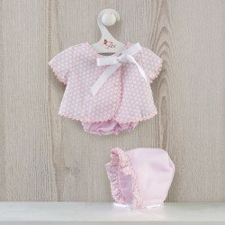 Así doll Outfit 43 cm - Pique pink dress with white circles for María doll