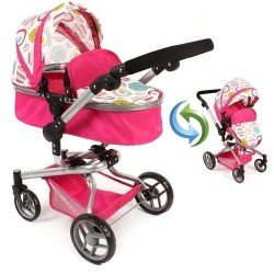 Yolo pram 75 cm convertible to pushchair for dolls - Bayer Chic 2000 - Fuchsia with a print