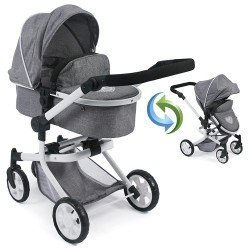 Mika pram 74,5 cm convertible to pushchair for dolls - Bayer Chic 2000 - Grey Denim