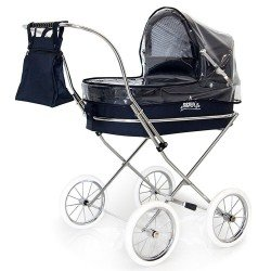 Navy rain cover for Bebelux round doll pram