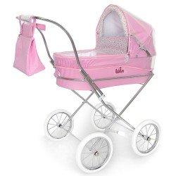 Pink rain cover for Bebelux round doll pram