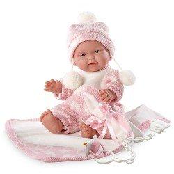 Llorens doll 26 cm - Bebita with pink blanket