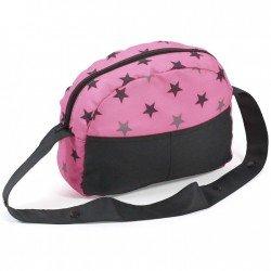 Bolso para cochecito de muñecas - Bayer Chic 2000 - Estrellas negro y rosa