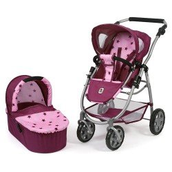 Emotion 2 in 1 doll pram 77 cm - Chair and carrycot combination - Bayer Chic 2000 - Raspberry-pink stars