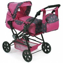 Road Star doll pram 82 cm - Bayer Chic 2000 - Fuchsia stars