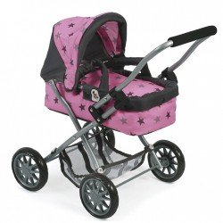 Smarty small pram 57 cm for dolls - Bayer Chic 2000 - Grey stars