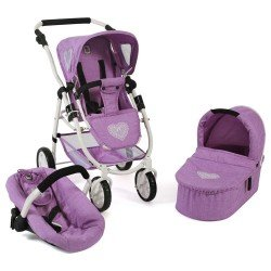 Emotion 3 in 1 doll pram 77 cm - Chair, carrycot and car seat combination - Bayer Chic 2000 - Lilac